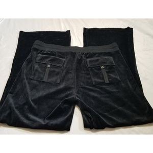 BCBGMaxAzria Pants - BCBGMaxazria black velour embellished track pants